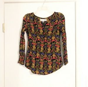 Old Navy Black Floral Long Sleeve Maternity Blouse